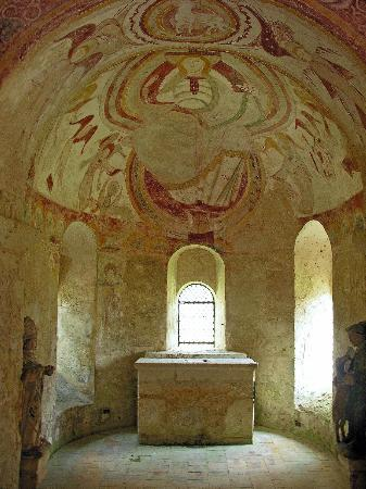 Chapelle Saint Gilles : Christ pancreator XIIth century fresco of Chapel St Giles in Montoire
