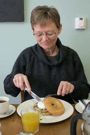 Whitburn Lodge: My mother enjoys a mushroom bagel with poached egg. Yum!