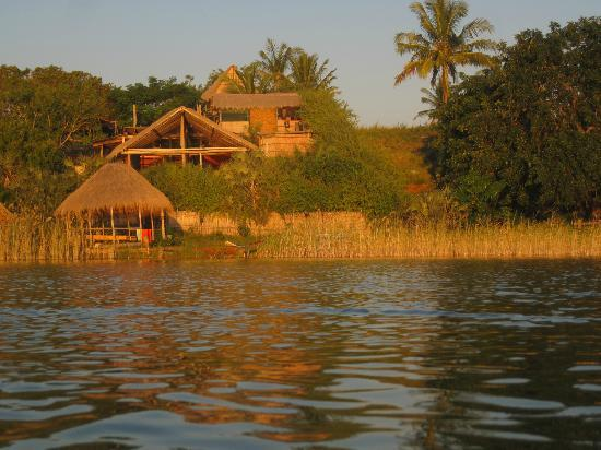 Quissico, Mozambique: View of the lodge fro the lagoon