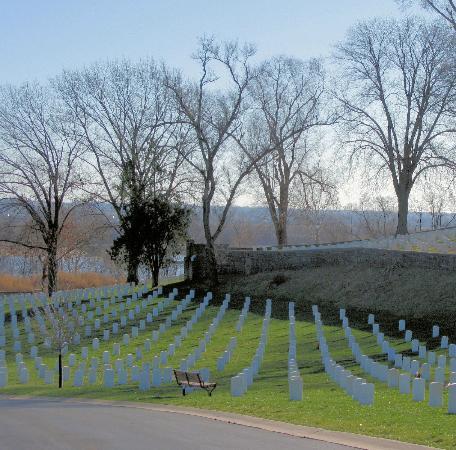 Jefferson Barracks Historic Park : Jefferson Barracks Cemetery overlooking the Mississippi River