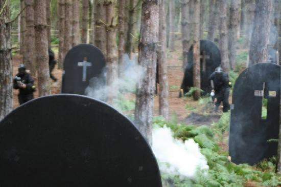 Delta Force Paintball Crawley: Mind the gravestones, as you're dodging paintballs