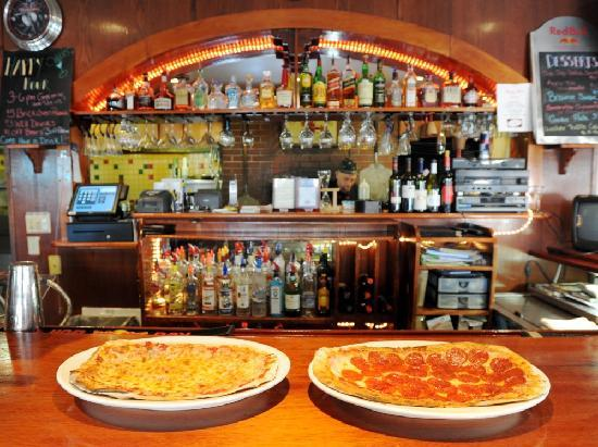 Cuzzy's Restaurant: Cheese & Pepperoni Pizzas fresh from the brick oven