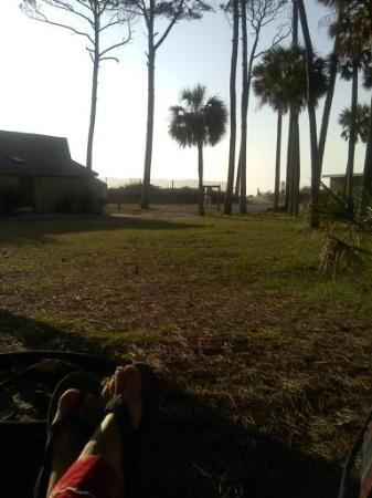 Hunting Island State Park Campground: Our firepit to the beach walk