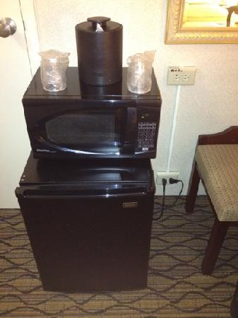 Holiday Inn Chicago Elk Grove: not so fancy fridge and micro set up. just sitting on the floor. otherwise very clean spacious e