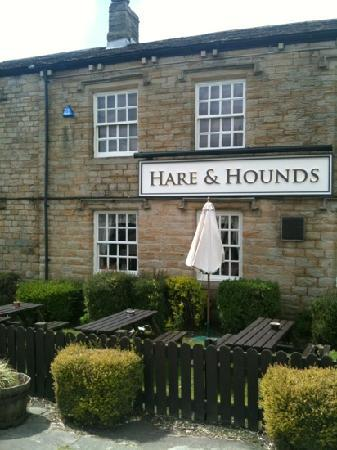 Hare and Hounds: view of the front of the pub, tables available outside with views over the hills