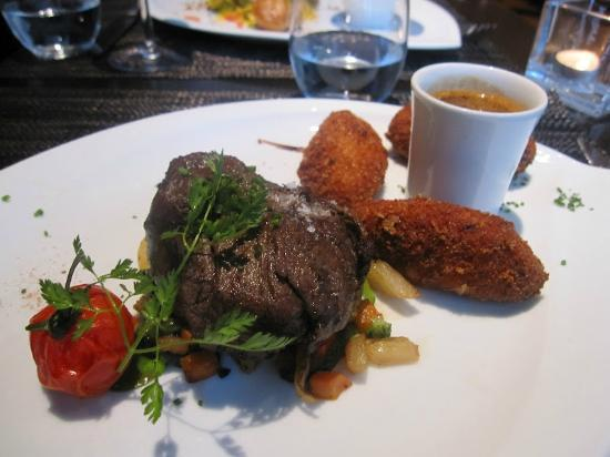 Tribeca: Beef fillet with pepper Selim, chiffon cakes and tandoori vegetables