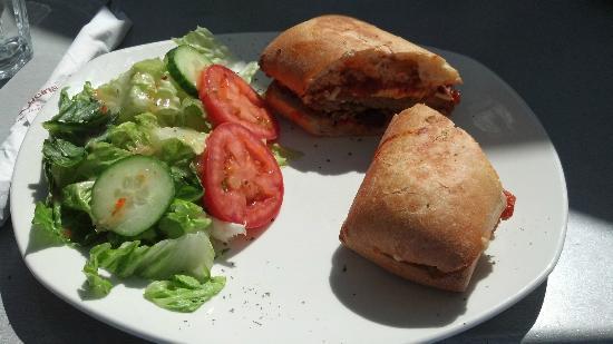 Bistro Cafe & Cucina: Delicious Breaded Chicken Sandwich on a Ciabatta Bread