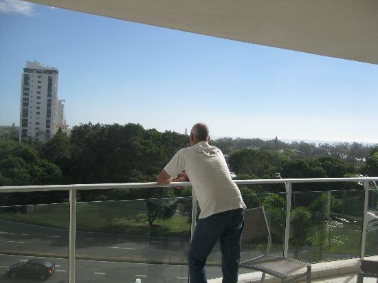 The Sebel Maroochydore: Owen looking out from our balcony