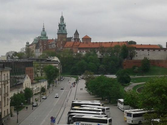 Kossak Hotel: View of castle from 5th floor suite