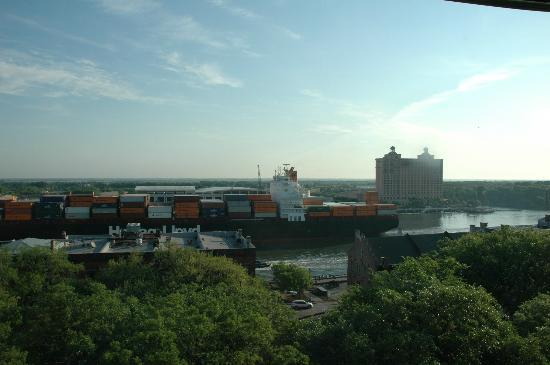 Holiday Inn Express Savannah - Historic District: View from our room of the Weston across the Savannah river.