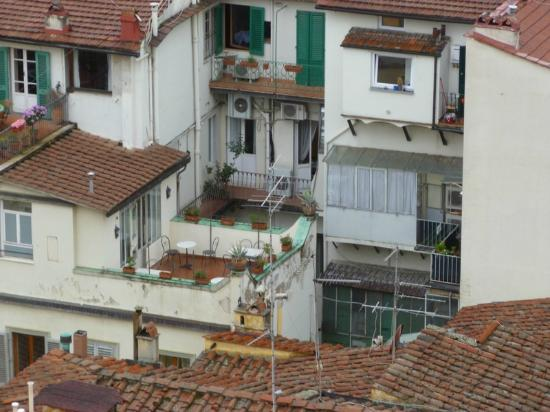 Residenza Giotto: View of the patio and our room from the Belltower.  You can see someone lives on top of the B&B