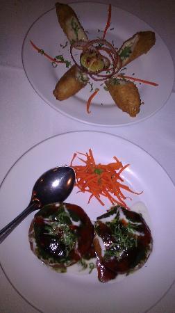 Indian Chaat: dahi kabab aloo tiki with choley