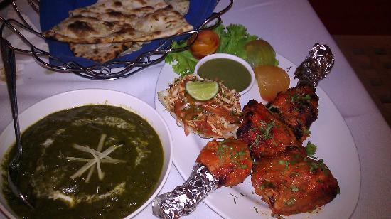 Indian Chaat: palek paneer tandori chicken