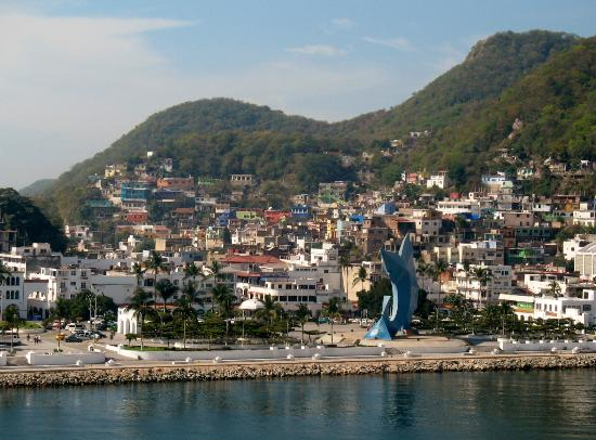 Manzanillo malecon and marlin sculpture as seen from cruise ship