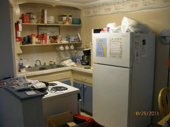 Joy Lee Apartments: kitchen with full size refrigerator as well stove. Please excuse the mess. :(