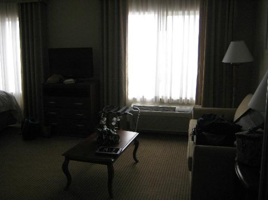 Hampton Inn & Suites Reno: Sofabed with coffee table, side table & lamp. TV + dresser.