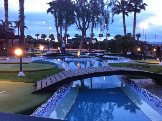 Cambrils Park Resort: bridge over crazy golf (9:30pm still quite light!)