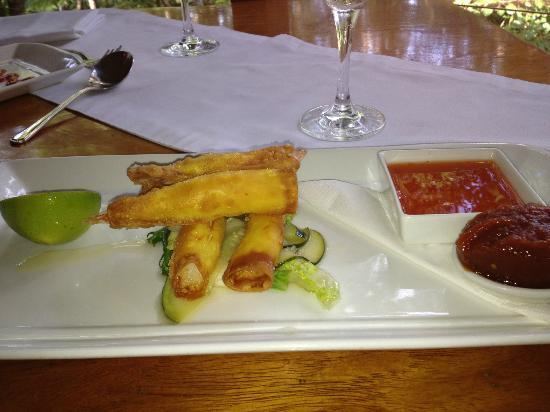 Treehouse Restaurant: Delicious prawns with chilli sauce and tomato jam