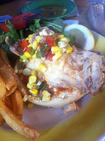 Blue-Eyed Crab Grille And Raw Bar: tough shell mush crab sandwich with charred? corn