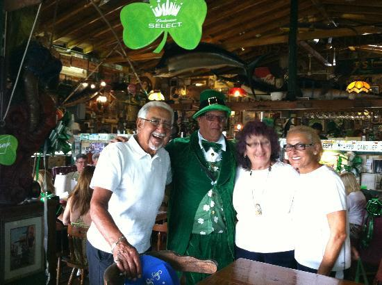 Latitude 22+ Ocean View Roadhouse Bar: My wife, friends from the Hamptons and the Norte Dame mascot.