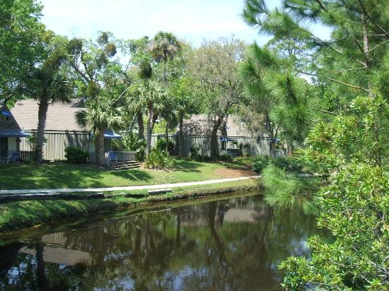 The Village at Palmetto Dunes: view of bunglows from lagoon bridge
