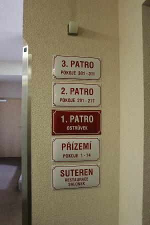Hotel Ostruvek : plaque des étages
