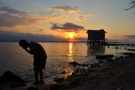 Tobacco Caye Lodge: Sunset over Diveshop
