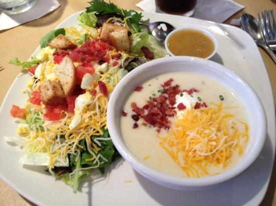 Red Onion Cafe: ROC house salad with loaded baked potato soup