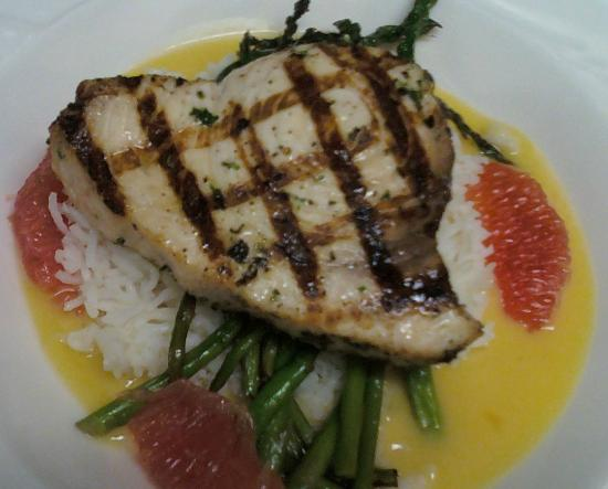 Blue Moon Cafe: Grilled Swordfish with grapefruit nage.