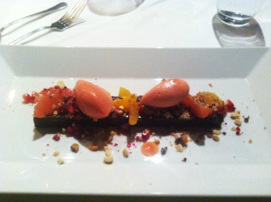 Musta Lammas: Chocolate - Hazelnut Cake with Blood Orange Sorbet and Marinated Blood Orange