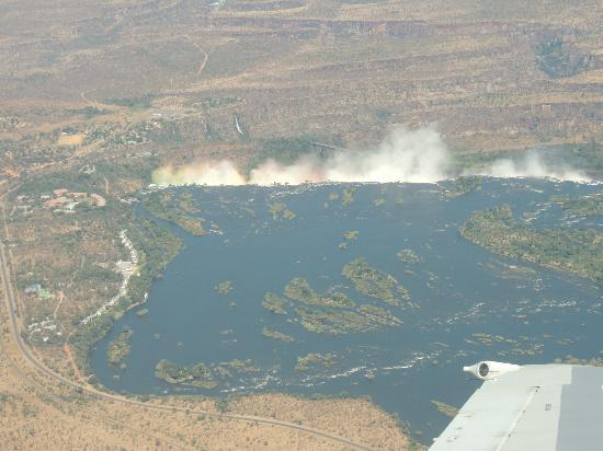 Wilderness Safaris Toka Leya Camp: View of the Falls on Arrival by Plane