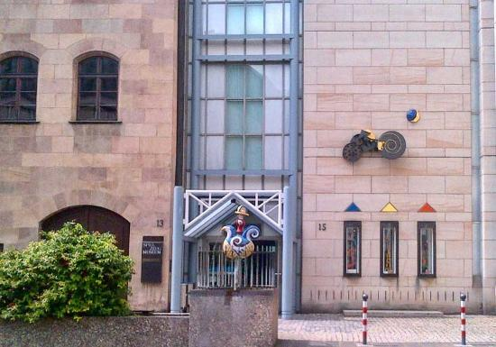 Nuremberg Toy Museum (Spielzeugmuseum): Toy Museum Entrance--easy to miss; look for the sculpture