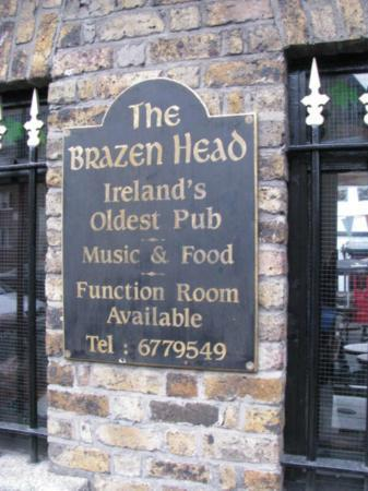 The Brazen Head: sign