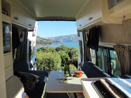 Akaroa TOP 10 Holiday Park: View from our campervan