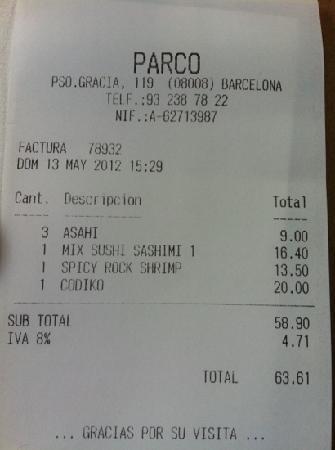 Parco : factura
