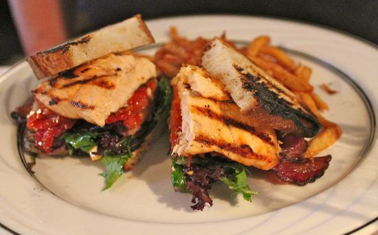 Cafe Zelda: Special Grilled Salmon Club with Applewood Smoked Bacon and Roasted Tomatoes.