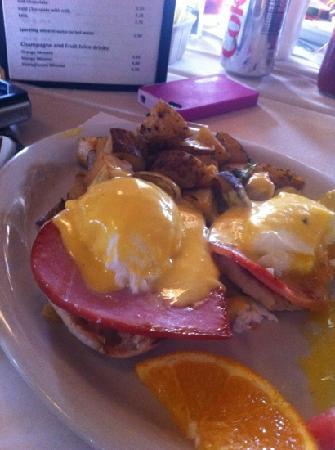 Santa Lucia Cafe: eggs Benedict with Country ham (already started eating)