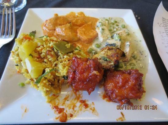 Indigo Indian Bistro: Veggie biryani, chix tika masala, mathi mutter paneer, tandori chix and Gobi Manchurian