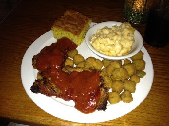 Mayfel's: Meatloaf, fried okra and Mac-n-cheese.   Very spicey meatloaf sauce.  Mac n cheese was tasteless