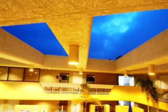 The Pacific Inn: Atrium is open to the sky.  Beautiful night view.   Credit Barbara L. Steinberg