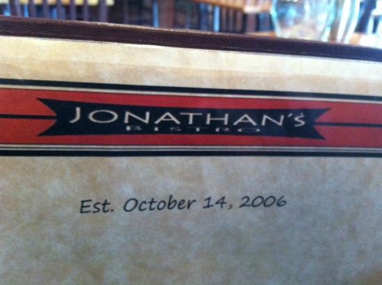 Jonathan's Bistro: Menu