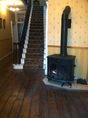 Clanabogan House: Wood burning stove in entrance hall