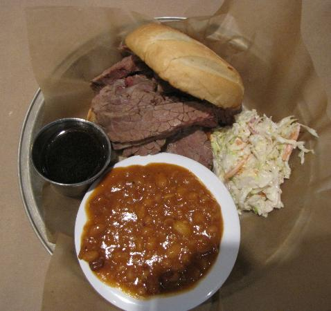 ... Smokehouse: Beef brisket sandwich, coleslaw and chipolte baked beans