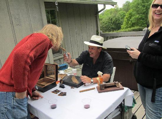 Banner Haven B&B and Cabin Rentals: Guests at 2012 Open House - Cigars can always be found at Banner Haven