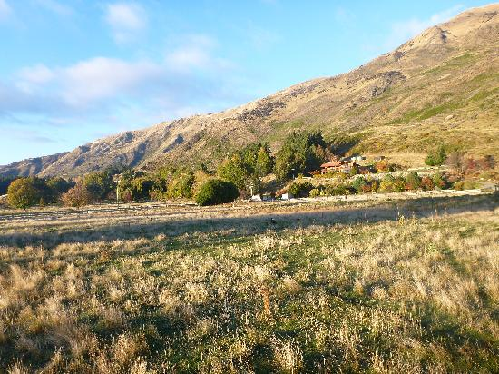 Wanaka Top 10 Holiday Park: Hill and view behind park