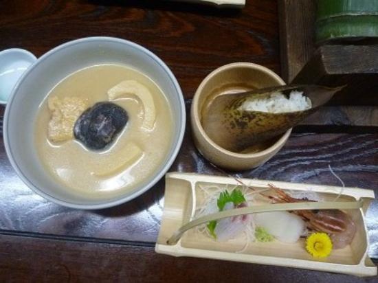 Jinnai Ryokan: 孟宗汁(此れもえぐい)・孟宗御飯・お造り