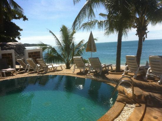 Marina Villa: Blick über den Pool zum Meer