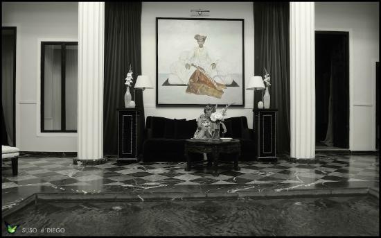 Riad Lotus Perle. Pequeña piscina y salón.
