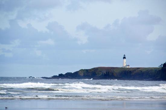 Yaquina Head Outstanding Natural Area Lighthouse As Seen From Agate Beach