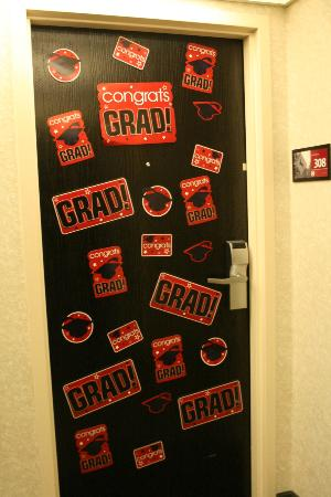 Hampton Inn Athens: They tolerated us decorating our room door.  No complaints at all.  :)